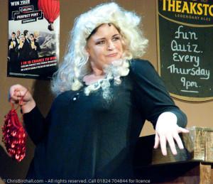 Lynne as the blonde lush