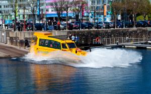The Yellow Duckmarine taking to the water.  Photo Chris Birchall