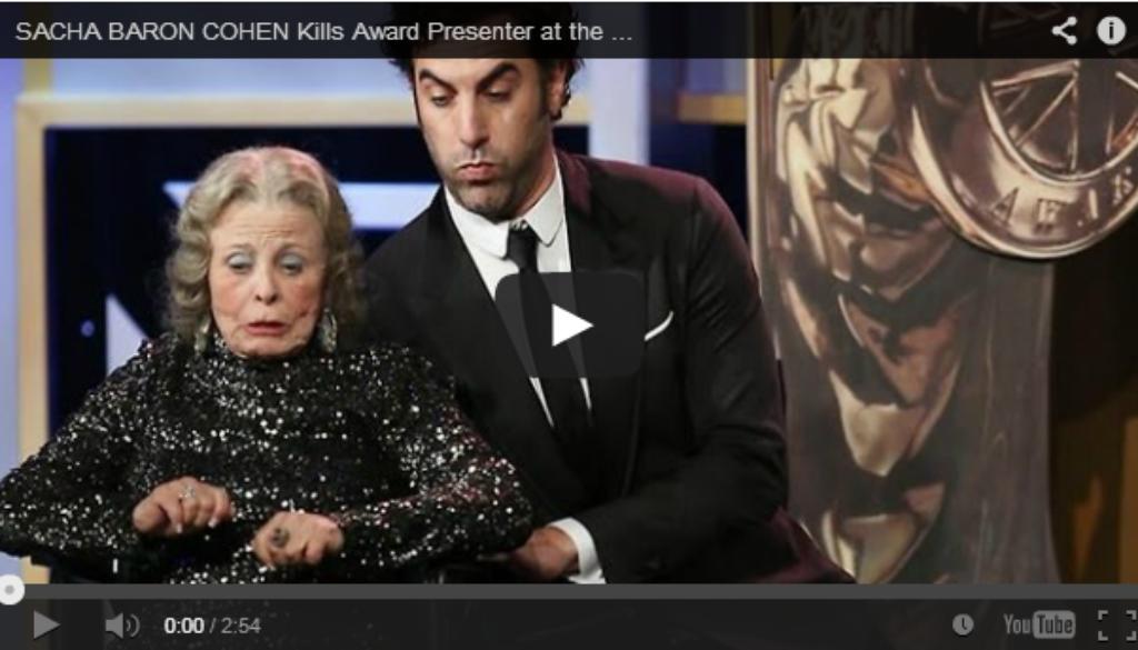 Sacha Baron Cohen kills the presenter at the Britannia Awards